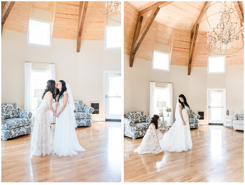 bride and sister in bridal suite