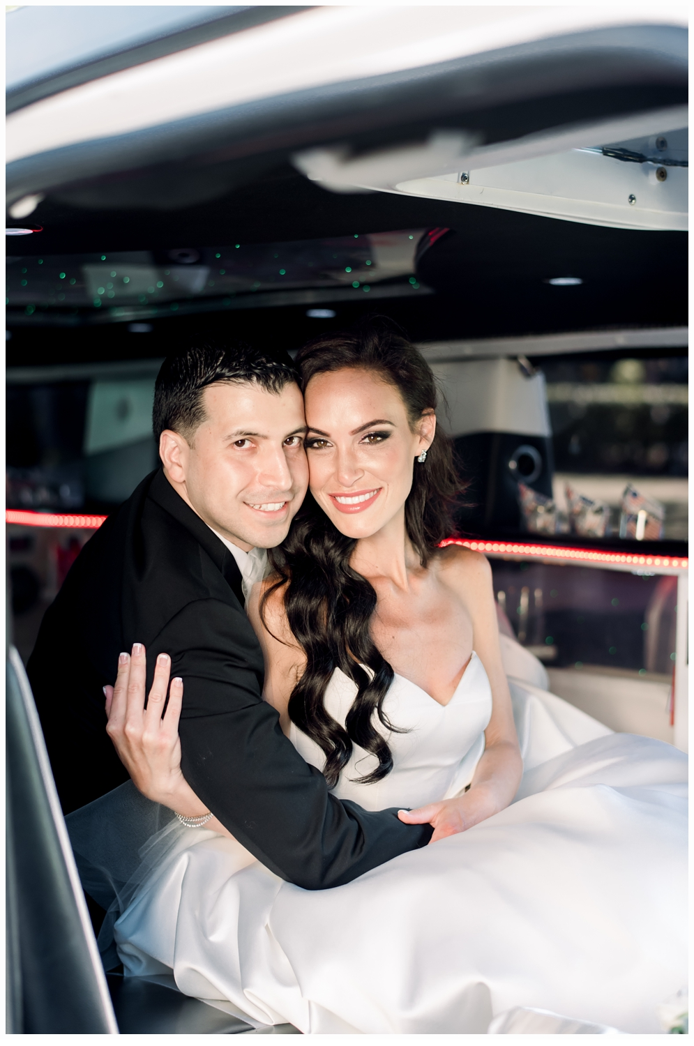 bride and groom in limo portrait