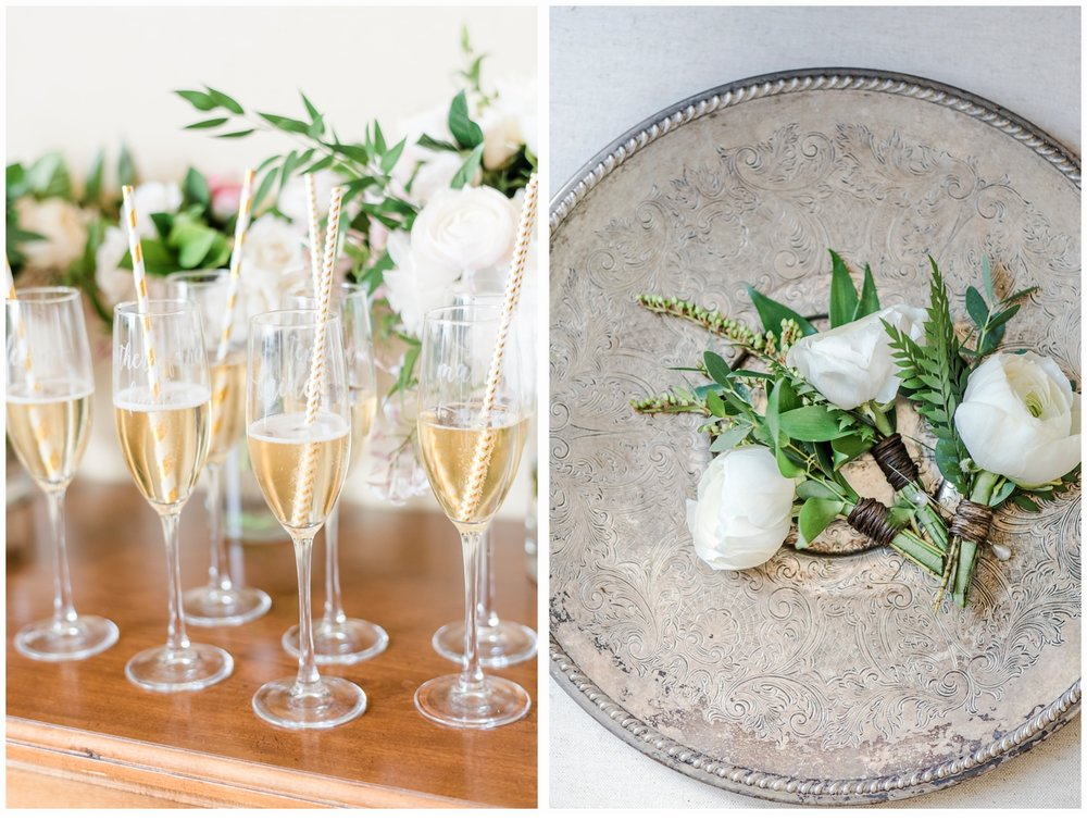 pretty champagne flutes and flowers