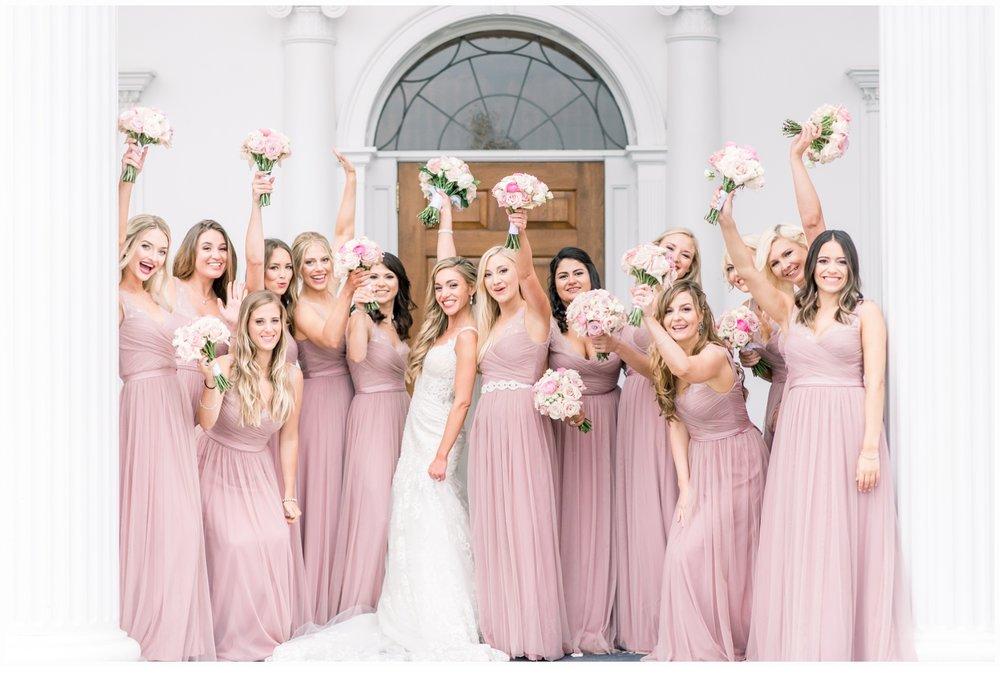 bride and bridemaids cheering