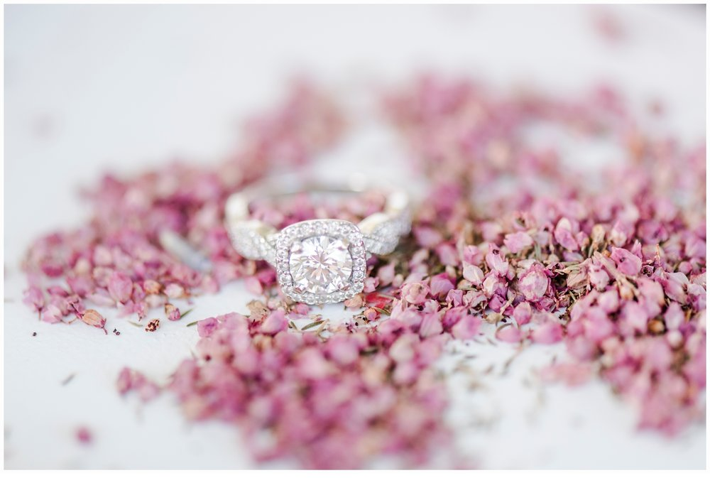 engagement ring on flowers