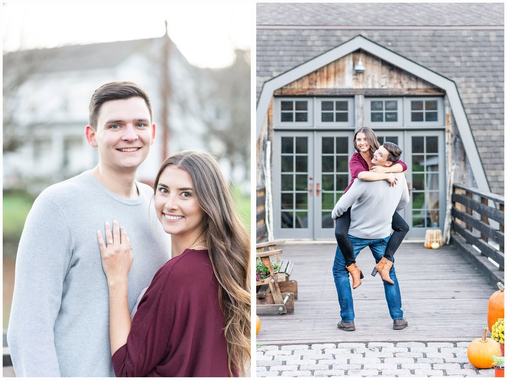 couple at a country barn engagement session