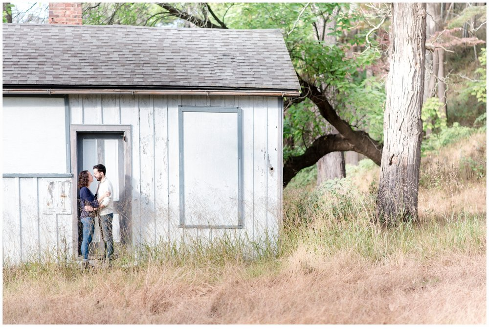 engagement session in front of barn
