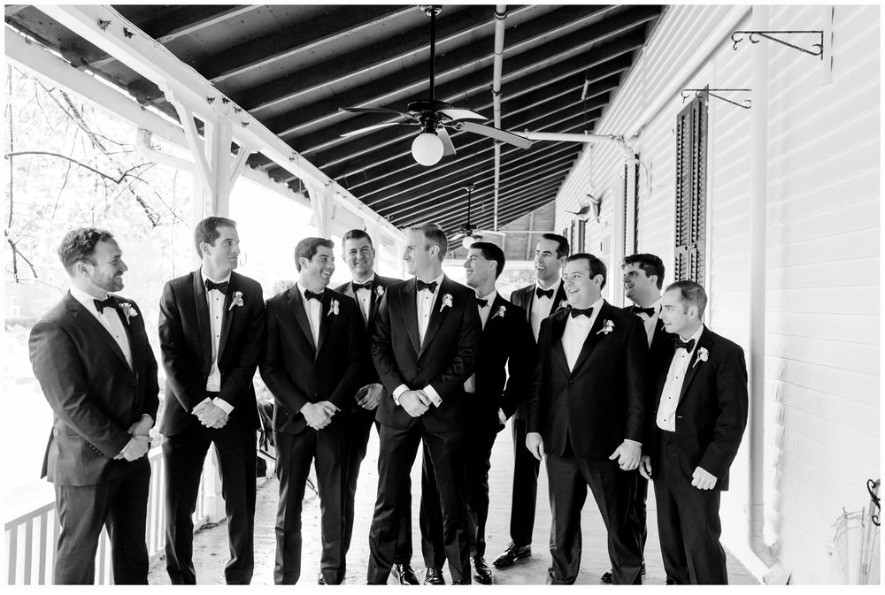 groomsmen on porch at parker house spring lake nj