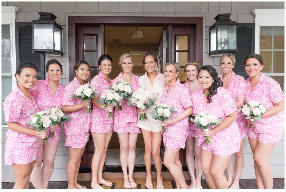 bridesmaids in pink robes at house at jersey shore
