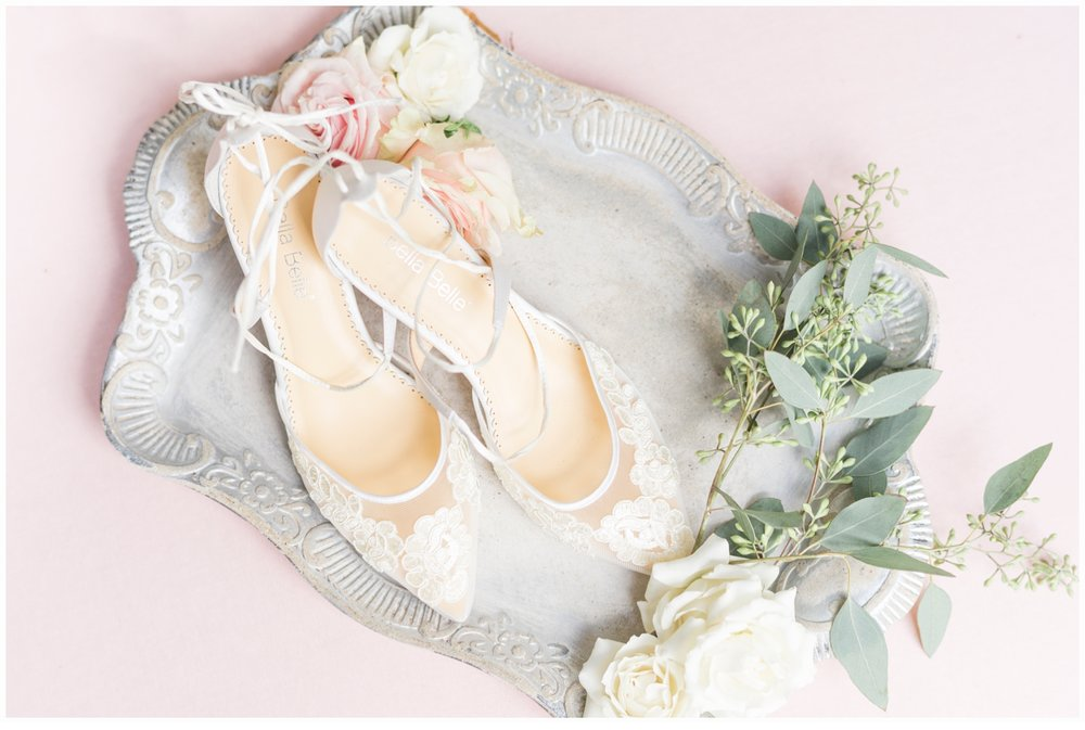 bridal shoes on a pretty tray