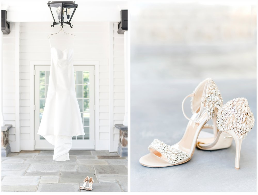 picture of wedding gown and wedding shoes