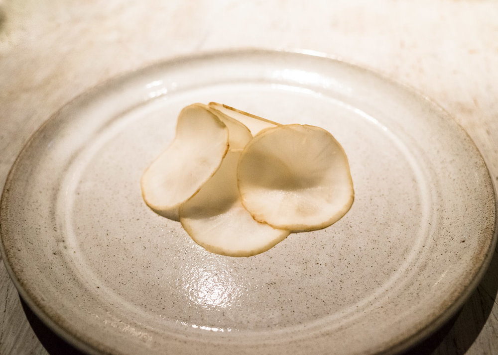 Slices of fermented jerusalem artichoke (v)