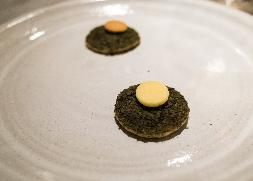 Sourdough pancake, seaweed, and beef butter or butter (v)