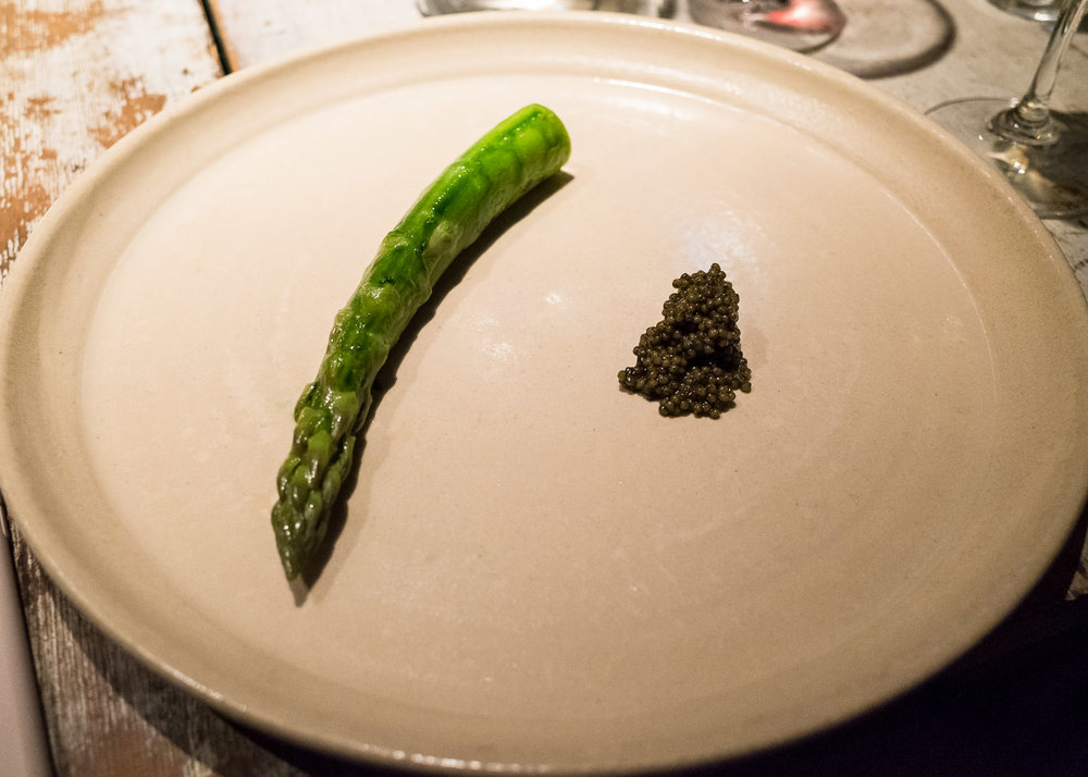 A steamed asparagus, very good cream and Finnish fish eggs
