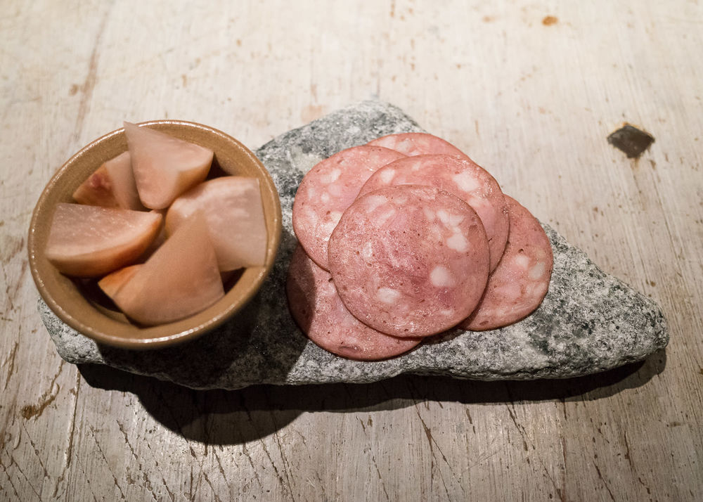 Charcuterie with pickled turnips