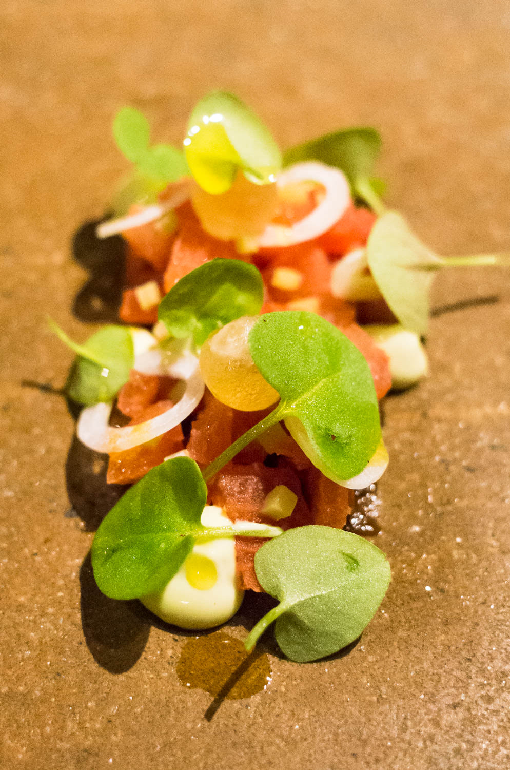 Heritage tomato in coal oil, shallot and sorrel (v)