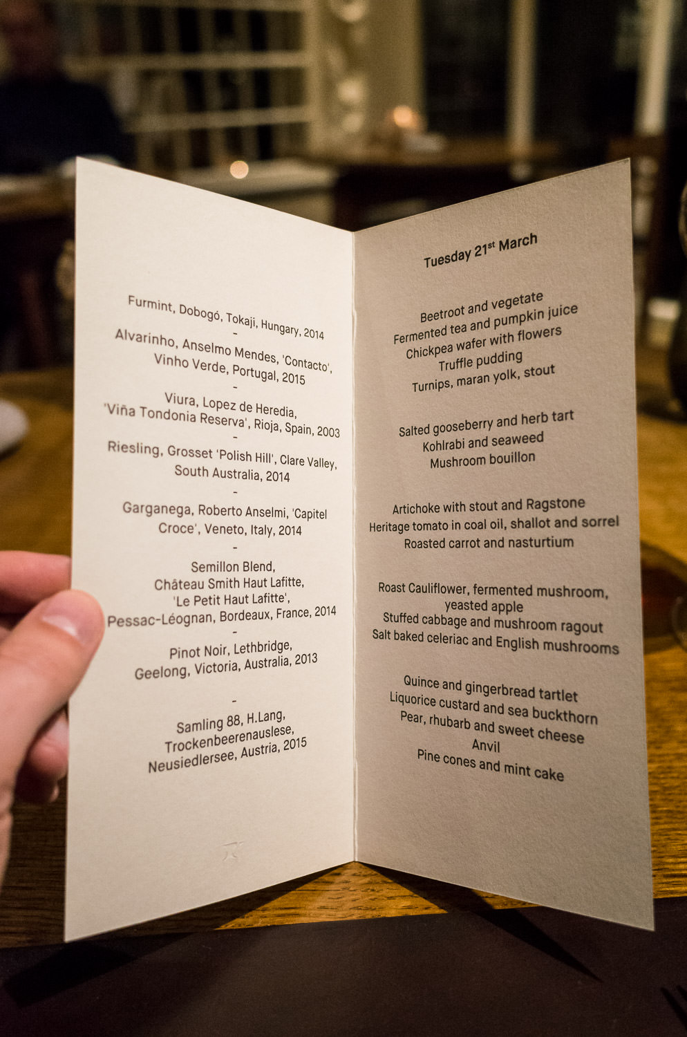 L'Enclume vegetarian tasting menu (with optional wine flight)