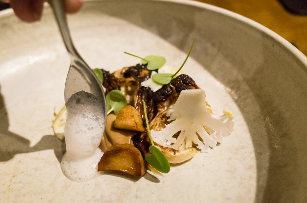 Roast Cauliflower, fermented mushroom, yeasted apple (v)