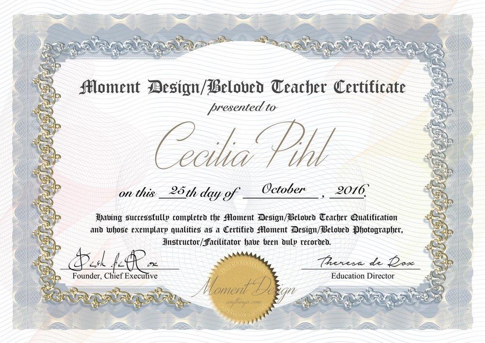 Cecilias lärarcertifikat efter 6 veckors onlinekurs, certifiering som fotograf och utbildning till lärare