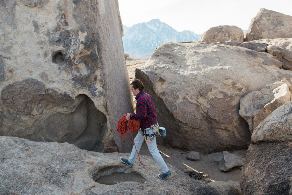 Callen getting ready to climb the classic Shark's Fin in  Alabama Hills