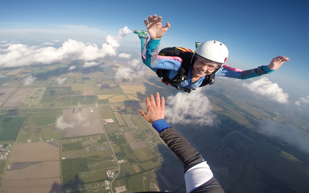 enjoying the view at skydive spaceland