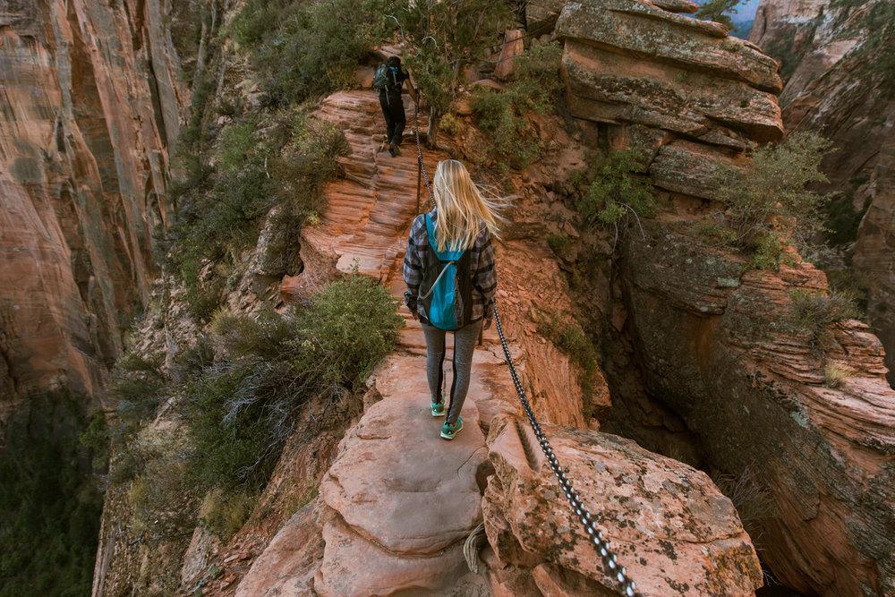 Hiking Angel's Landing in Zion National Park // adventure photographer // www.abbihearne.com