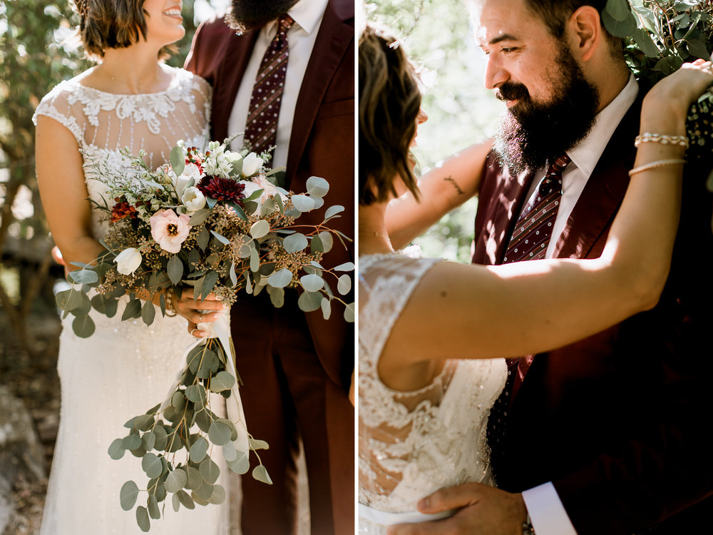 hipster bride & groom // Fall Garden party wedding at Lady Bird Johnson Wildflower Center // austin, texas wedding photographer // www.abbihearne.com