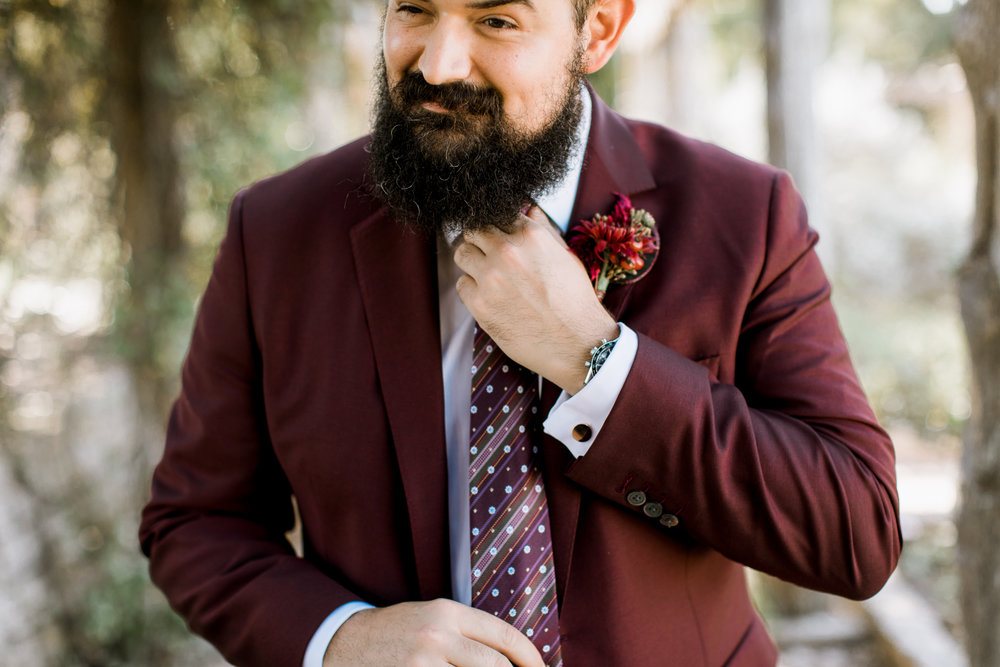 hipster groom // Fall Garden party wedding at Lady Bird Johnson Wildflower Center // austin, texas wedding photographer // www.abbihearne.com