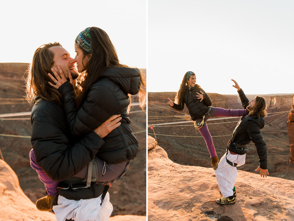 extreme surprise proposal + 200 foot rope swing off a 400 cliff! // moab, utah engagement photographer // www.abbihearne.com