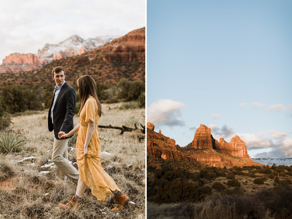snowy desert engagement photos in sedona, arizona // adventure wedding photographer // www.abbihearne.com