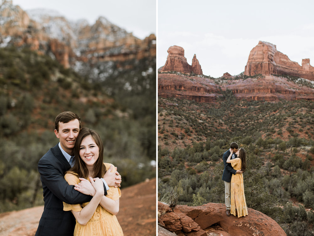 snowy desert engagement photos in sedona, arizona // adventure wedding photographer // www.abbihearne.com