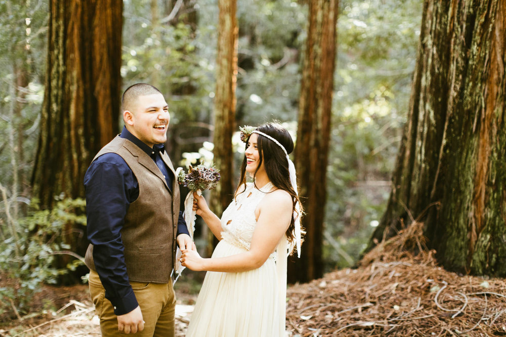 california redwood forest elopement // adventure wedding photographer // boho free people bride // www.abbihearne.com