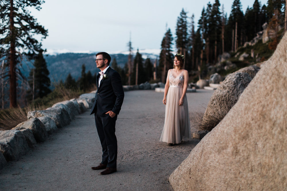Kristin + Kevin's Yosemite National Park adventure wedding | sunrise first look at glacier point | elopement at taft point | california intimate wedding photographer