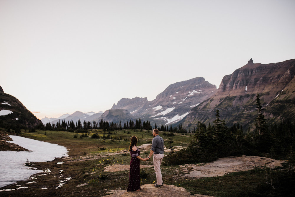 josh + margit's adventurous mountain anniversary session | glacier national park | montana wedding photographer | the hearnes adventure wedding photography | www.thehearnes.com