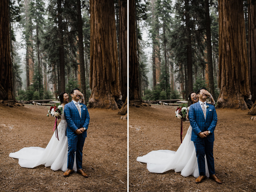 first look in sequoia national park | foggy intimate wedding day in a giant forest | california adventure elopement photographer | the hearnes adventure photography | www.thehearnes.com