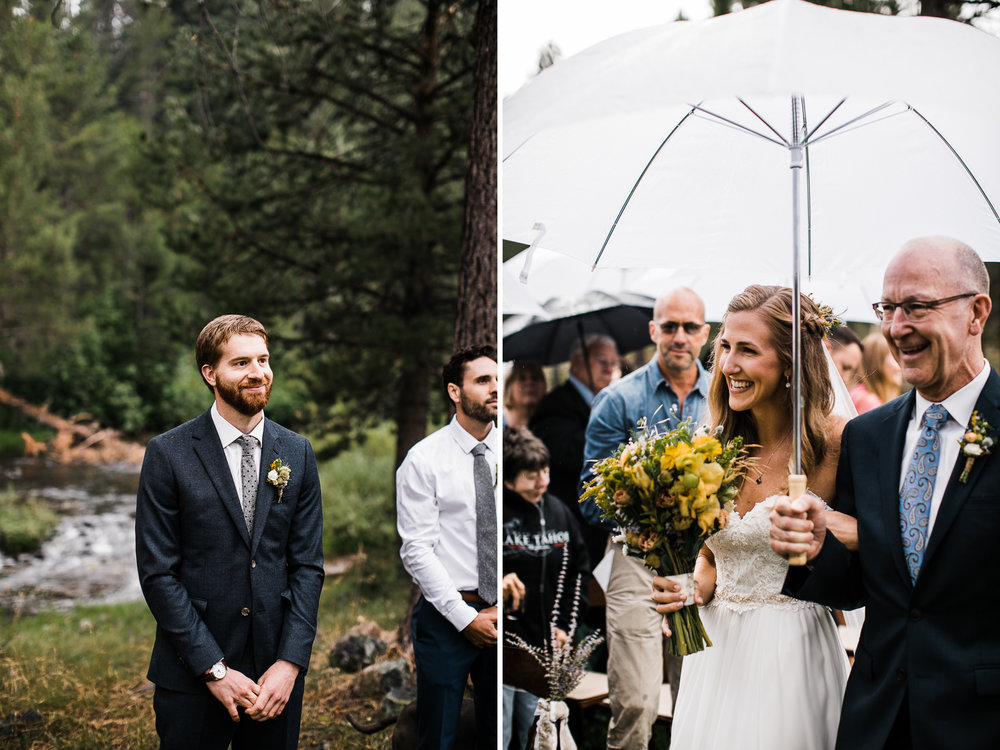 megan + zach's adventurous woodland wedding in truckee, california | romantic rainy wedding day inspiration | lake tahoe wedding photographer | www.thehearnes.com