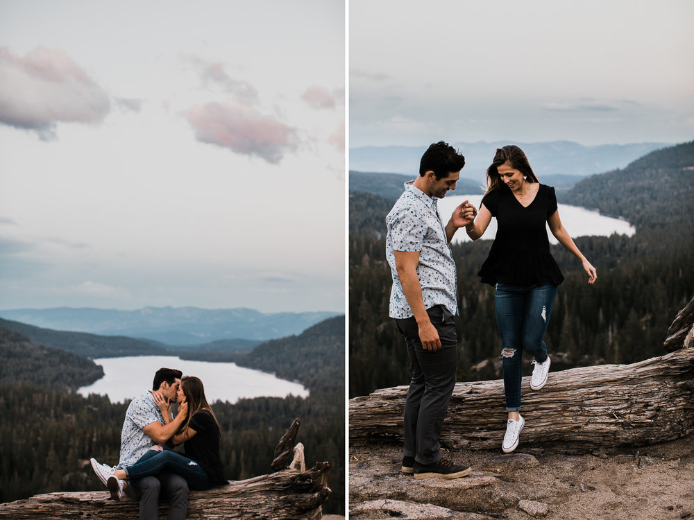 morgan+ christian's adventurous mountain engagement session | donner pass + donner lake | truckee, california wedding photographer | the hearnes adventure photography | www.thehearnes.com