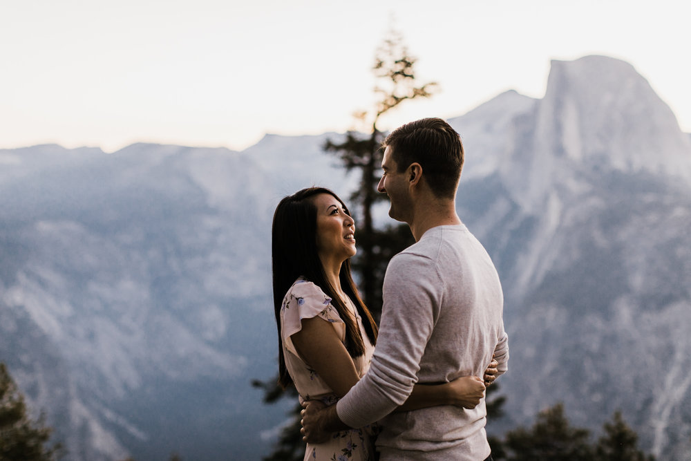 janet + paul's adventurous engagement session | glacier point, yosemite national park | destination elopement photographer | the hearnes adventure photography | www.thehearnes.com