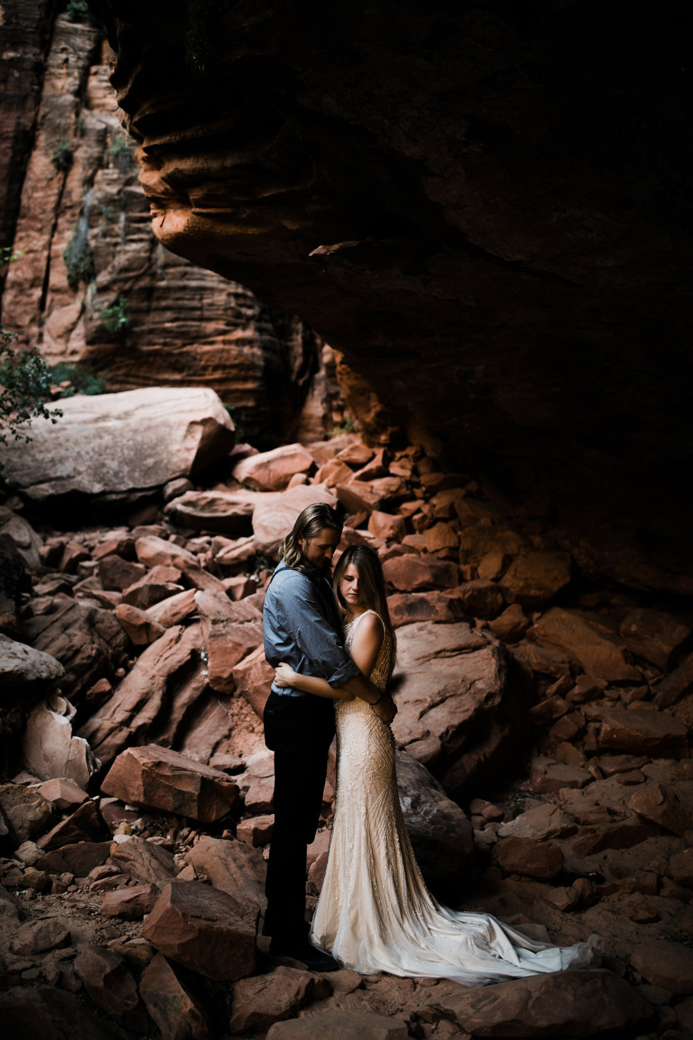 las vegas elopement at the neon museum | bhldn bride | sunset wedding portraits at zion national park | utah adventure wedding photographer | the hearnes adventure photography | www.thehearnes.com