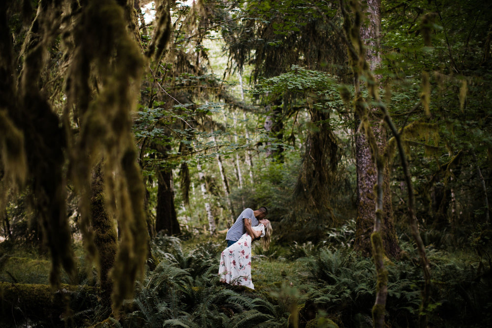 morgan + alex's engagement session in olympic national park | hoh rainforest campsite session | washington adventure wedding photographer