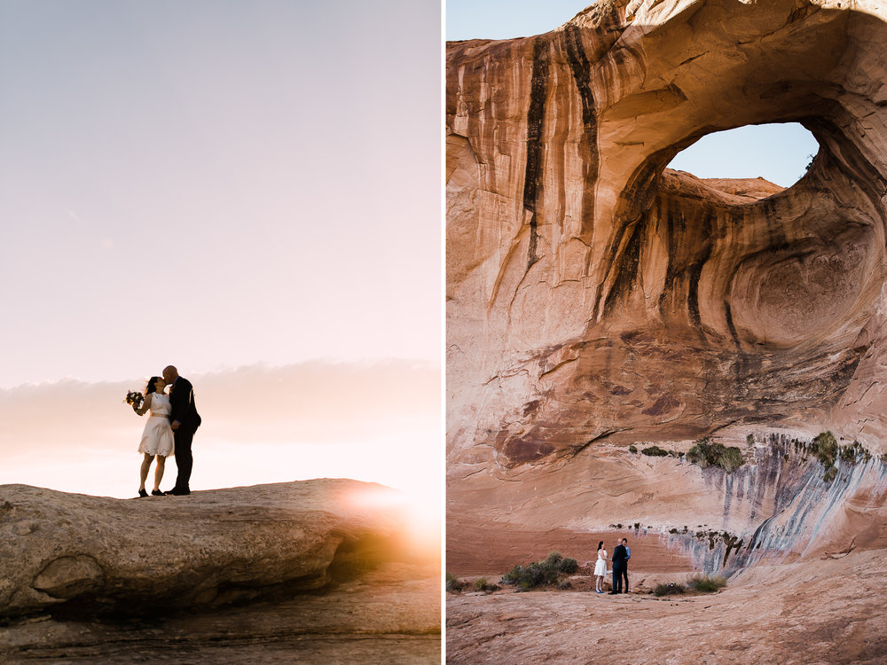 bob + janice's adventurous hike-in elopement | desert arch wedding inspiration | moab, utah intimate Wedding photographer