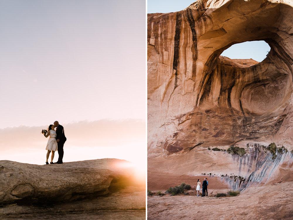 bob + janice's adventurous hike-in elopement | desert arch wedding inspiration |moab, utah intimate Wedding photographer