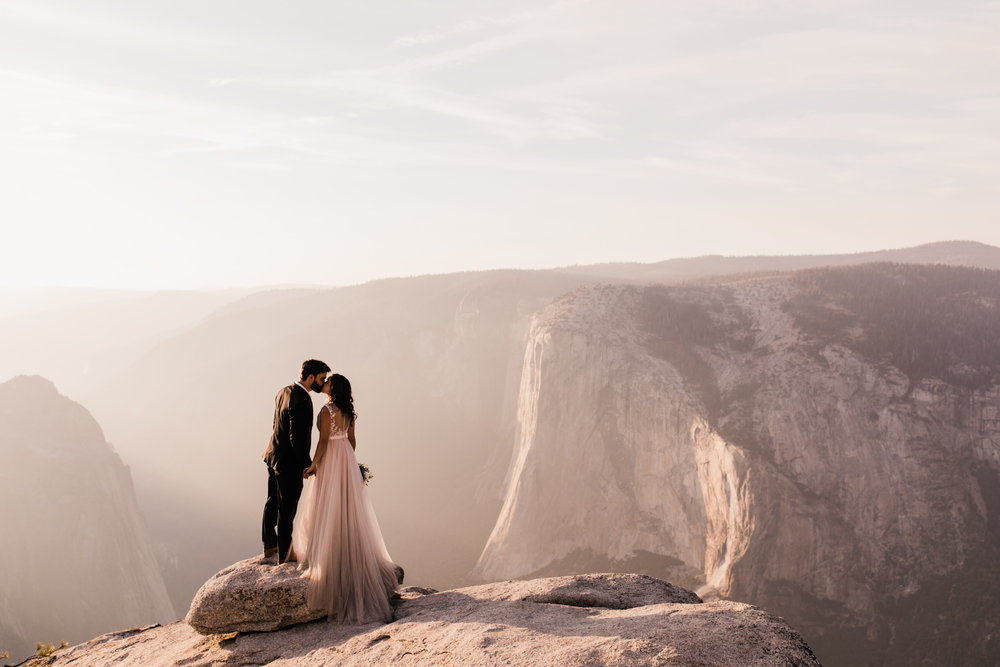 adventurous yosemite elopement | sunrise at glacier point | sunset wedding ceremony at taft point | destination elopement photographer | the hearnes adventure photography | www.thehearnes.com