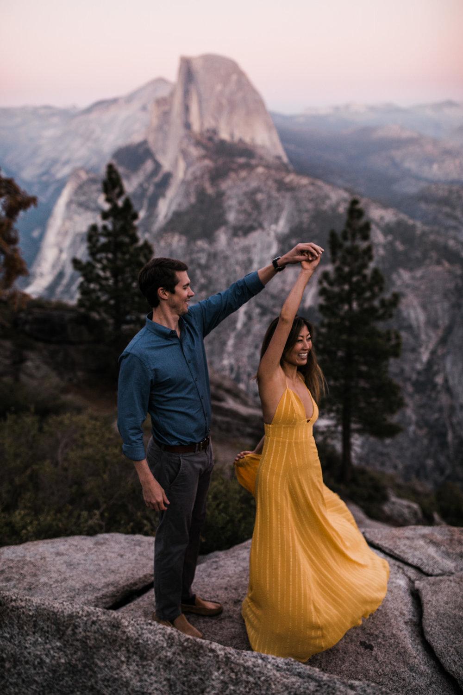 meng + matt's adventurous glacier point engagement session | yosemite national park |california adventure elopement photographer | the hearnes adventure photography | www.thehearnes.com