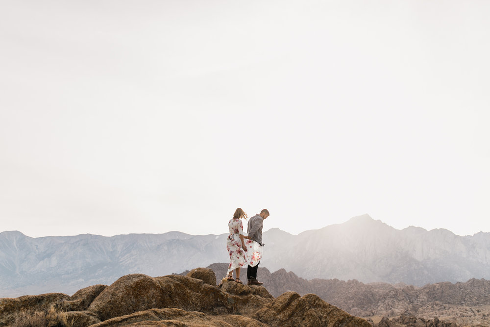 hannah + jason's adventurous camp site engagement session | van life in the eastern sierra | california adventure elopement photographer | the hearnes adventure photography | www.thehearnes.com