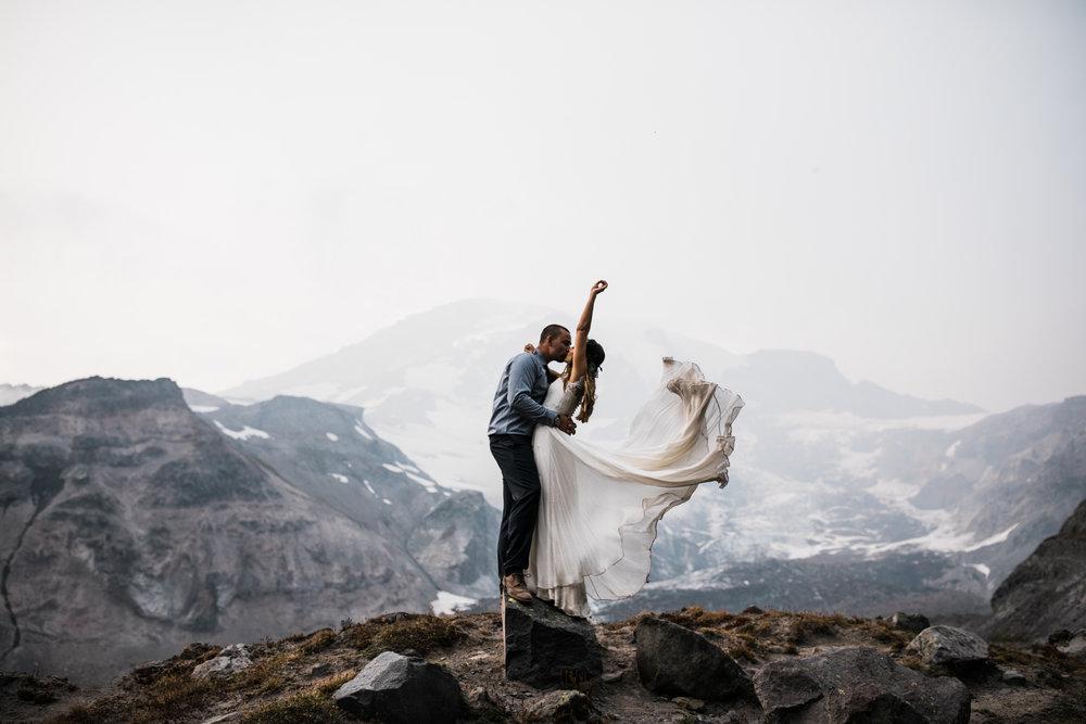 adventure elopement at mount rainier national park