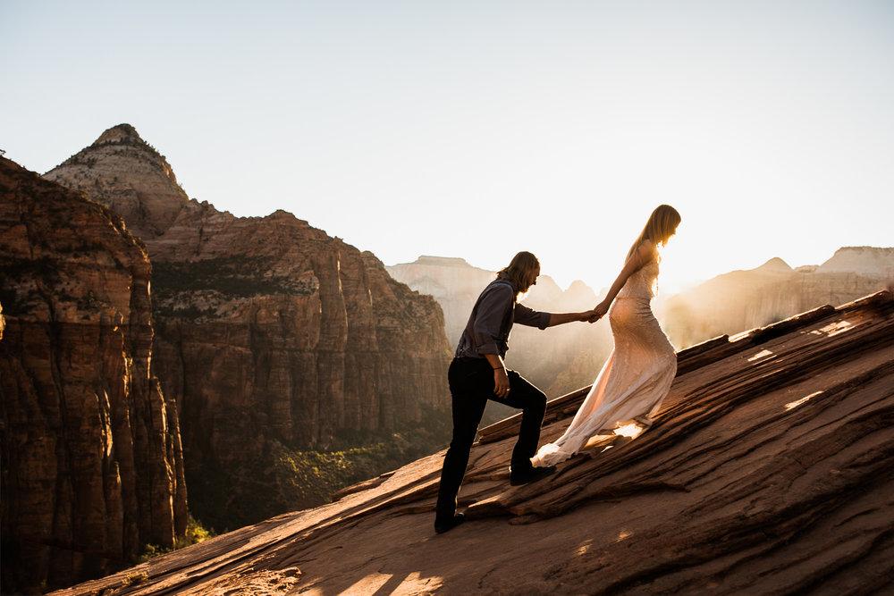Zion national park adventurous elopement photographer