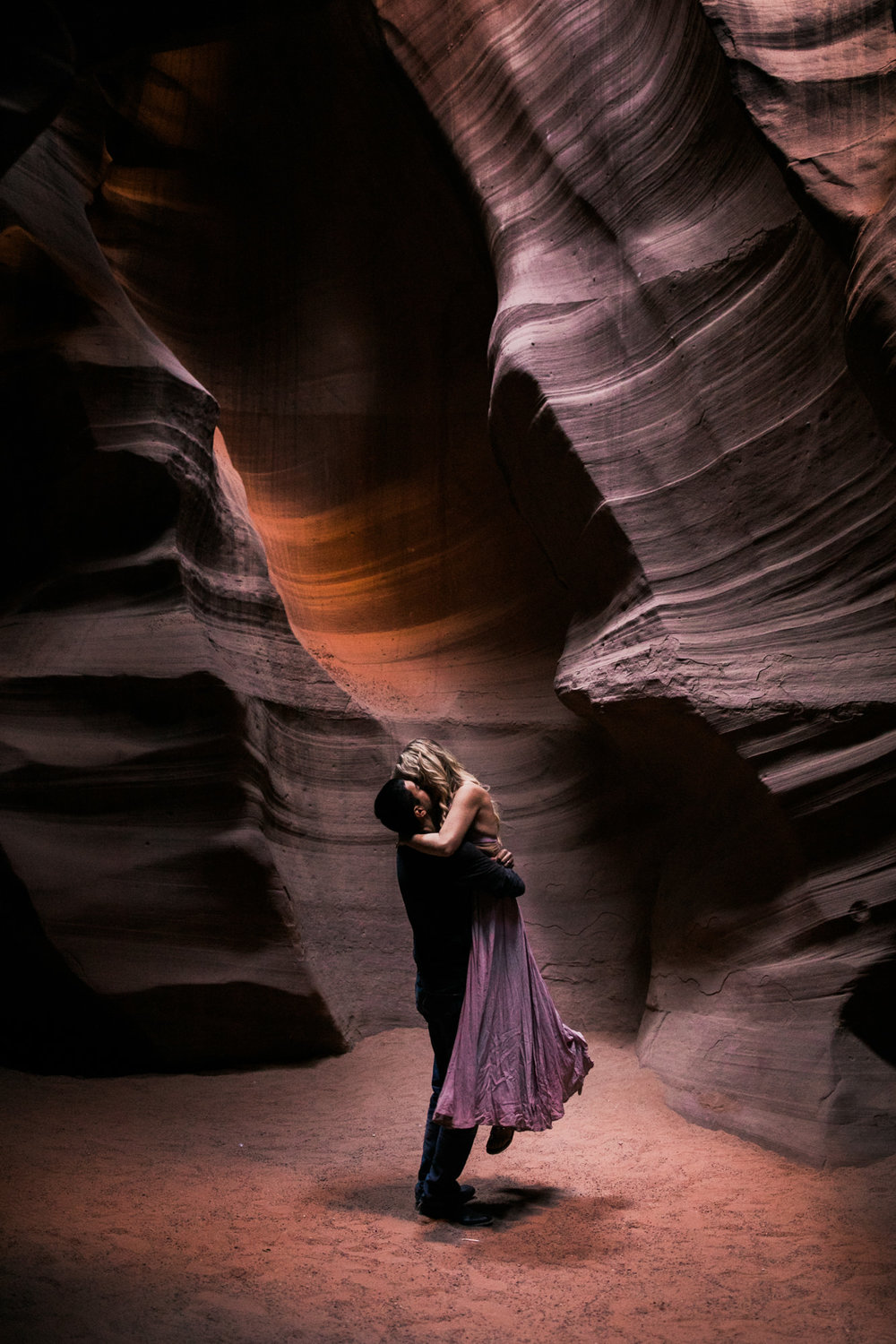 antelope canyon adventure elopement session | destination engagement photo inspiration | utah adventure elopement photographers | the hearnes adventure photography | www.thehearnes.com