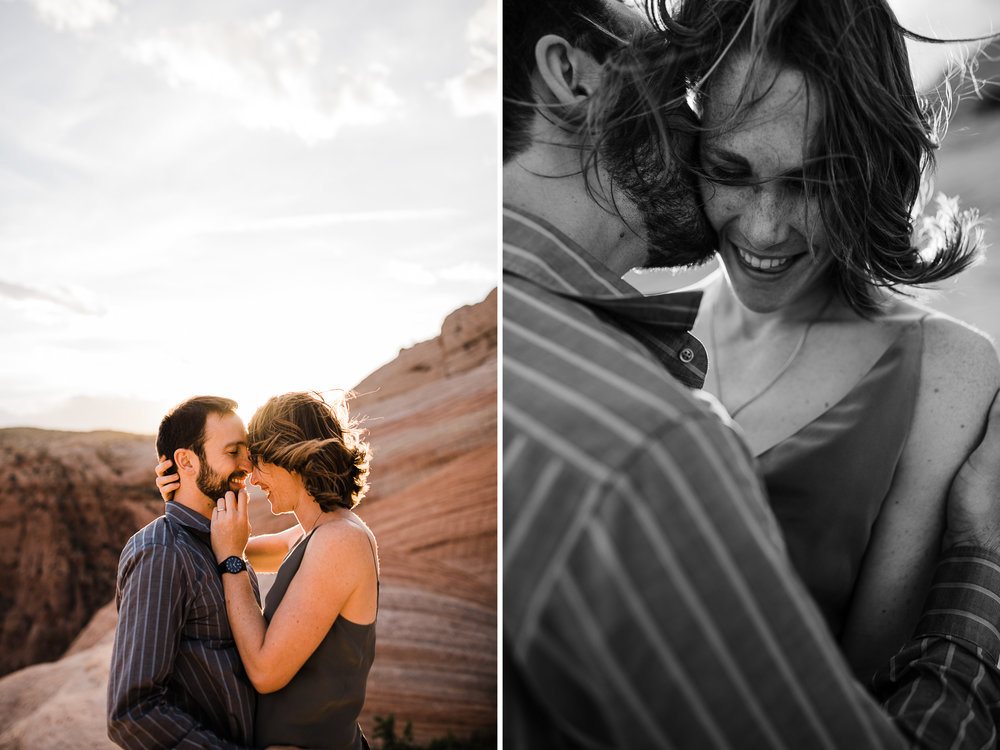 utah desert adventure engagement session | destination engagement photo inspiration | utah adventure elopement photographers | the hearnes adventure photography | www.thehearnes.com