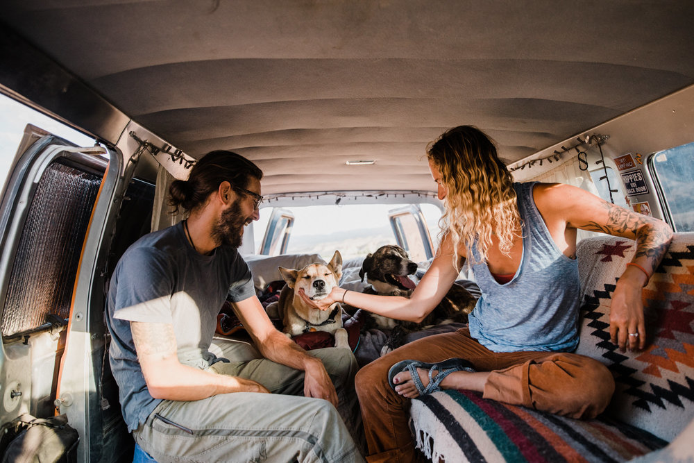 adventure van life session in the utah desert  | destination engagement photo inspiration | utah adventure elopement photographers | the hearnes adventure photography | www.thehearnes.com