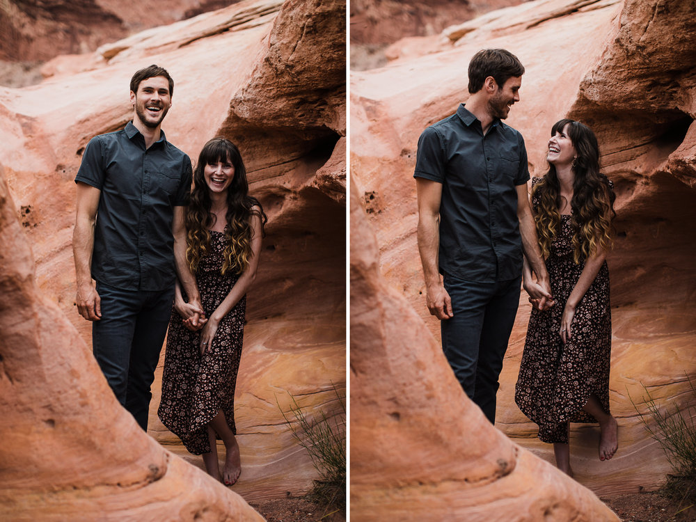 slot canyon engagement session near lake powell | destination engagement photo inspiration | utah adventure elopement photographers | the hearnes adventure photography | www.thehearnes.com