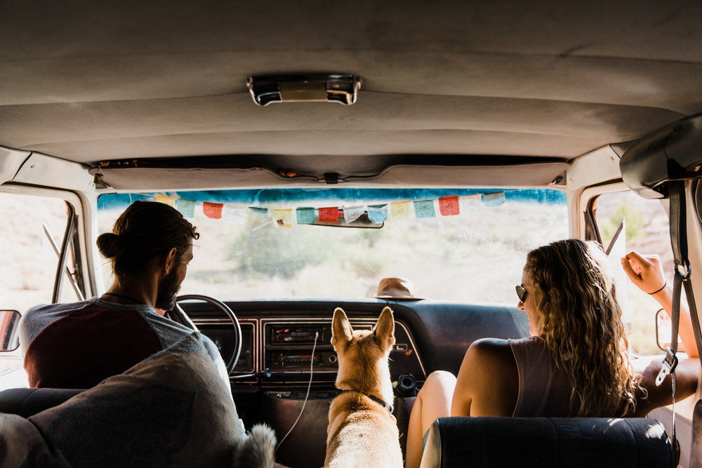 vanlife adventure session in the utah desert | destination engagement photo inspiration | utah adventure elopement photographers | the hearnes adventure photography | www.thehearnes.com