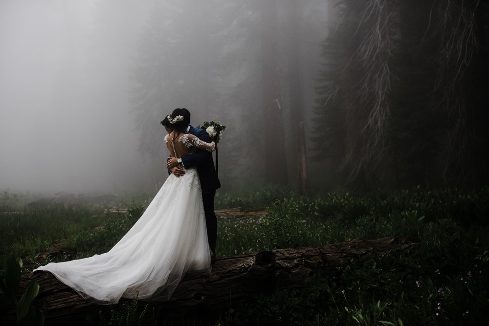 foggy elopement in sequoia national park | destination adventure wedding photographers | the hearnes adventure photography | www.thehearnes.com