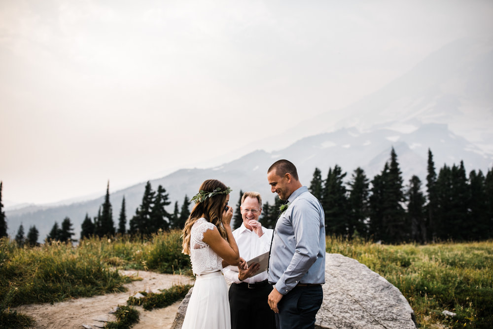mount rainier national park intimate wedding | destination adventure wedding photographers | the hearnes adventure photography | www.thehearnes.com